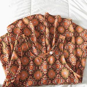 Orange Kaleidoscope Pattern Tank Top Blouse